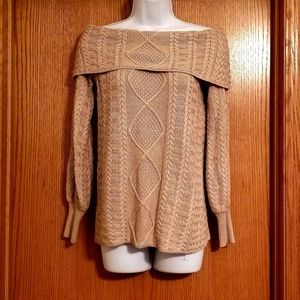 Marled Reunited Fold Over Collar Sweater Small